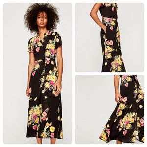 Zara Button Down Floral Maxi Dress